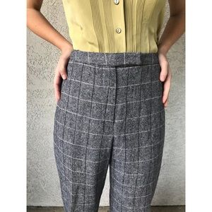 [vintage] high waist wool grid trousers